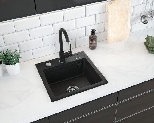 Chiuveta de bucatarie Deante Zorba Grafit 440x440 mm, 1 compartiment, fara scurgere, granit, negru 2