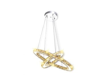 Lustra Candelabru Inel Dublu Cristale, LED incorporat, otel inoxidabil, cristale K9, auriu