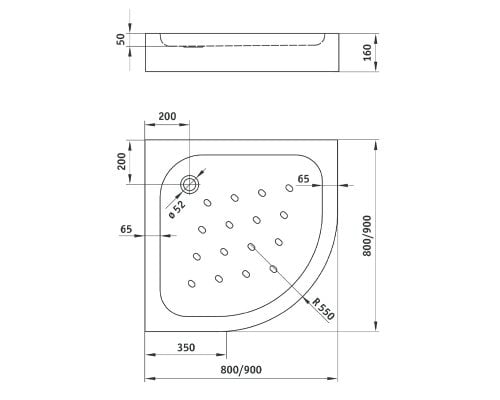 Cadita de dus Deante Standard New 90x90x16 cm, semirotunda, striatii anti-alunecare, acril, alb dim