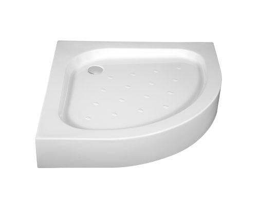 Cadita de dus Deante Standard New 90x90x16 cm, semirotunda, striatii anti-alunecare, acril, alb 1