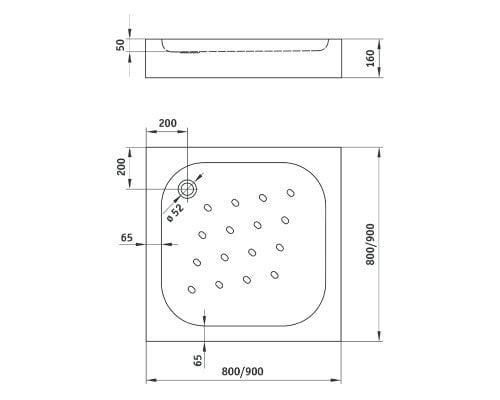 Cadita de dus Deante Corner 90x90x16 cm, patrata, striatii anti-alunecare, acril, alb dim