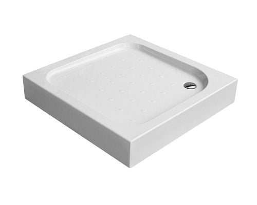 Cadita de dus Deante Corner 90x90x16 cm, patrata, striatii anti-alunecare, acril, alb 1