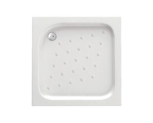 Cadita de dus Deante Corner 80x80x16 cm, patrata, striatii anti-alunecare, acril, alb