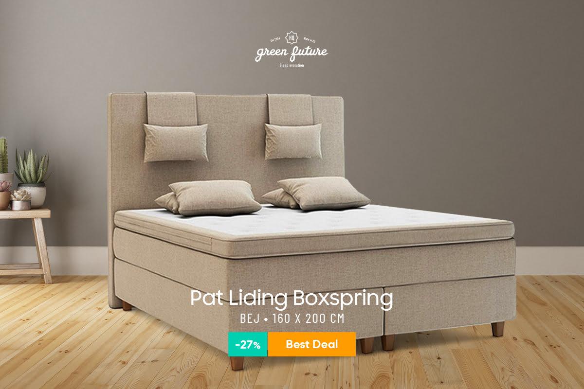 Pat Dormitor Matrimonial Green Future Liding Boxspring Bej 160×200 cm, pachet, stofa, fara lada de depozitare