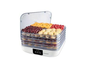Deshidrator alimente cu control digital Beper 350 W, temperatura reglabila, 5 rafturi, timer de 48 h