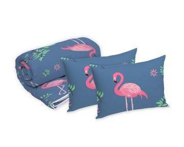 Set Alcam Flamingo, pilota 140x200 cm, perna 50x70 cm, fibra siliconica, husa microfibra, cu model